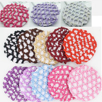 Wholesale beautiful crochet - NEW 17 colors Bun Cover Snood Hair Net Ballet Dance Skating Crochet White Pearl rhinestones Tails Holder Beautiful Colors free shipping
