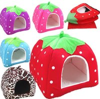 Wholesale Doghouse Free Shipping - Cute Strawberry Pet Hous Dog Doghouse Cat House Soft Bed kennels 5 SIZE FREE SHIPPING #GW01