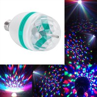 2PCS 3W E27 RGB LED Bulbo Full Color LED Crystal Stage Light Auto Rotating Stage Effect DJ Lamp Mini Stage Light para DISCO CLUB PARTY KTV