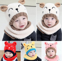 Wholesale Ear Protect - Puseky 2pcs Plush Knitting Embroidery Bear Soft Touch Ear Protect Pom pom Hat+Scarf Winter Knitting Wool Warm Cap Scarf Set