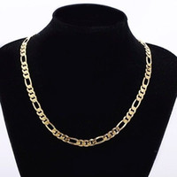 Wholesale figaro chain 8mm - Mens 24k Real Yellow Solid Gold GF 8mm Italian Figaro Link Chain Necklace 24 Inches