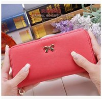 Wholesale Cheap Designer Ladies Bags - designer wallet retail cheap leather cheap women lady pu long messenger bags purses with bow free shipping