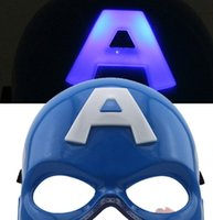 Wholesale avengers masquerade masks for sale - Group buy Halloween Mask Captain America Half Avengers Masquerade Luminous Mask Decoration Christmas Toy LED Glow Party Adult