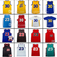 Wholesale Embroidery Sports Jerseys - Top quality Throwback Michael #23 Basketball jersey 30# stephen curry sports shirt Retro Stitched Embroidery Logos jersey Fast Shipping