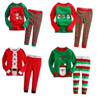 Wholesale summer pjs - Fashion Children Sleepwear Suit Christmas Pajamas For Boys Santa Costume Snowman Deer Baby Girl Nightdress Tee Shirt Trouser PJs