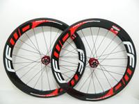 Wholesale Cheap Bicycle Carbon Wheels - Cheap Red FFWD 60mm bicycle wheels disc brake 700c carbon fiber road bike racing wheelset R39