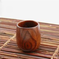 Wholesale Single Tea Pot - Free shipping Wood Tea Cup Wooden Cup Eco-friendly Pot-bellied Cup 100pcs