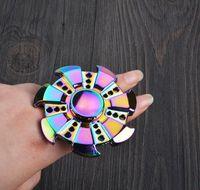 Wholesale Deep Frames - Rainbow Hand spinner Rainbow Deep Groove Frame Metal Caps Hybrid Ceramic BearingTri Hand Spinner Toys Special Design DHL Free