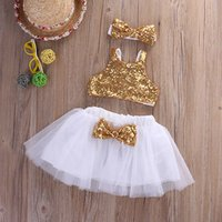 Wholesale Toddler Boys Party Clothes - Wholesale- Infant Baby Girl Sequins Tank Tops+Tutu Skirts Headband Party Outfits Clothes Toddler Girl Clothing Set