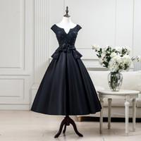 Wholesale modern maternity clothes for sale - Real Black th Grade Graduation Dresses Satin Beaded Lace Tea Length Prom Dress Short Homecoming Gowns Online Clothing Store Cheap