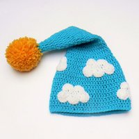 Wholesale Baby Prop Elf Hat - Cute Cloud Long Tail Elf Hat,Handmade Crochet Baby Boy Girl Pompom Beanie,Baby Shower Gift,Blue Orange Hat,Toddler Photo Prop