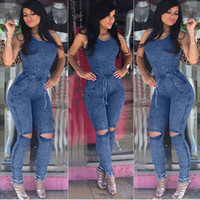 Wholesale Straight Loose Jumpsuit - Casual Jean Jumpsuits 2017 New Style Hole Fashion Long Denim Pants Rompers Crew Neck Sleeveless Leisure Women Jeans Real Sample