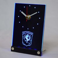 Wholesale Neon Table - Wholesale-tnc1005 FC Twente Enschede Eredivisie LED Neon Sign 3D LED Table Desk Clock