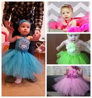 Wholesale Kids Feather Headdress - With Headdress flower Candy Color Kids Tutus Skirt Dance Dresses with Feather Lace Baby Suit Baby Girls Bubble Skirt with Big Flower