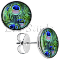 Vente en gros 50pcs / lot Surgical Steel Peacock Feather Ear Stud Earrings Cheater Plugs Diameter 10mm * 16g ZCST-034