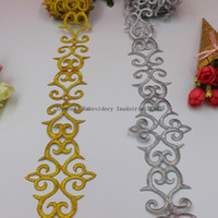 Wholesale Gold Trim Ribbon - YACKALASI 6 Yards Lot Gold Trims Metallic Embroidered Lace Cosplay Costume Braid Appliqued Lace Iron on Ribbon 6.6cm Wide