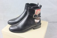Wholesale Martin Rain Boots Black - 2016 Plaid Patchwork Ankle Boots Slip-on Flats Women Boots Round Toe Shoes Woman Buckles Design Rain Booties Brand Zapatos Mujer