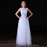 Wholesale Dress Instock - A-line applique tulle bridesmaid dress floor-length jewel sleeveless cheap instock evening gowns simple wedding guest dress