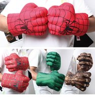 Wholesale Free shipment Cartoon Gloves stuffed toys The amazing spider man The Hulk comics Rock Stone Children Birthday Gift Boxing