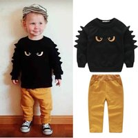 Wholesale Winter Short Pants Suits - monster design winter boys clothing suits black pullover print long-sleeved sweatshirt + pant fashion design hot selling free shipping