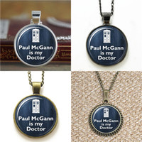 Wholesale Glass Paul - 10pcs Doctor Who Jewelry Paul McGann is my Doctor Glass Photo Cabochon Necklace keyring bookmark cufflink earring bracelet