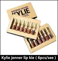 Wholesale usa cosmetics - NEW Gold Kylie Jenner lipgloss Cosmetics Matte Lipstick Lip gloss Mini Leo Kit Lip Birthday Limited Edition with gold retail packaging USA f