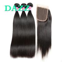 милые оранжевые повязки оптовых-DAZZ норки бразильские девственные волосы прямые 3 пучка с закрытием кружева Реми пучки человеческих волос с закрытием девственные волосы расширение 4 шт. Много