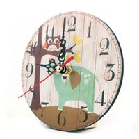 Wholesale Aa Wholesale Clocks - Wholesale-Hot Sell 7 Color Antique Style Wooden Wall Desk Clock Home Decoration Needle Digital AA Battery Vintage Retro Reloj de pared
