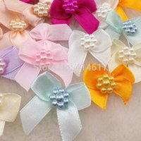 Wholesale Yellow Satin Craft Bows - Wholesale- 50pcs Mini Satin Ribbon Flowers Bows Gift Craft Wedding Decoration A262