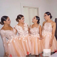 Wholesale Short Bridesmaids Dresses Hands - 2017 New Vintage Blush Short Lace Bridesmaid Dresses Mixed Style Knee Length Short Prom Party Graduation Dresses BA5025