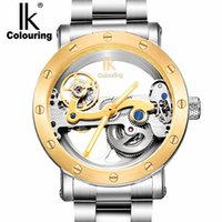 Wholesale Colour Strap Watches - Fashion brand IK colouring Tourbillon hollow watch, multi-function 50M Waterproof Luxury Casual steel Strap Mechanical Watch