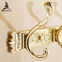 Wholesale Gold Wall Hooks - Carving Gold Plate Wall Mount Clothes And Hat Hook 4-8 Row Vintage Elegant Hook Bathroom Accessories Free Shipping HA-26G