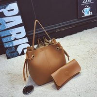 Wholesale Factory Ladies Tote - Women Top Handle New Bucket Bag Simple Tie Buckets Shoulder Bag Oblique Pumping With Small Square Bag Factory Wholesale