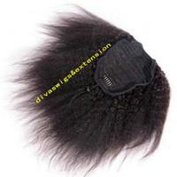 ingrosso yaki vendita dei capelli umani-Vendita calda capelli umani coda di cavallo capelli natrual per le donne nere, Kinky dritto italiano Yaki dritto coulisse coda di cavallo estensioni nero naturale