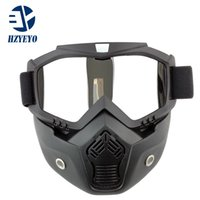 Wholesale Perfect Half - New Modular Mask Detachable Goggles And Mouth Filter Perfect for Open Face Motorcycle Half Helmet or Vintage Helmets