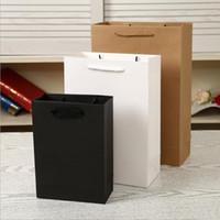 sacs en papier cadeau de petite taille achat en gros de-13 * 7 * 21CM Élégant Kraft Papier Cadeau Sac Petite Taille Emballage Cadeau Sacs avec Poignée De Bonne Qualité Blanc Noir Brun