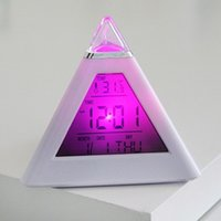 Wholesale Digital Led Pyramid - Colorful Creative Mood Triangle Alarm Clock Pyramid Shape Clock Teachers Valentines Day Birthday Gift High Quality Alarms 10 8mj R