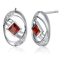 Wholesale Errings Silver - 925 Sterling Silver Round Stud Earrings Red Purple White Square Simulated Diamond Jewelry Errings Women Party R742