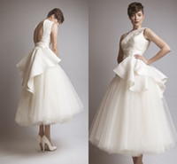 Wholesale Sexy White Tutu - 2017 Little White Short Wedding Dresses Tulle Tutu Skirt Lace Appliques Satin Summer Garden Beach Sexy A Line vestido de noiva Bridal Gown