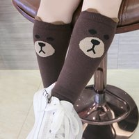 Wholesale Cartoon Leggings For Girls - new Kids Clothes Baby Girls Leggings Socks Cotton Cartoon Label Bear Socks for Kids Cute Children Legwarms High Knee Sock A6818
