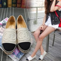 Wholesale Canvas Espadrille - Famous Brand Women Espadrilles Top Quality Brand 2017 Real Lambskin Women Flat Shoes Comfortable casual loafers Size EUR35-42 with Box