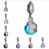 Qualidade superior se adapta às pulseiras Pandora 10pcs Silver Crystal Ball Butterfly Dangle Charme Beads For Wholesale Diy European Sterling Necklace
