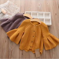 Wholesale Childrens Cardigan Sweaters Wholesale - 2017 Baby Girls Knit Sweater Kids Girl Fashion Flare Sleeve Cardigan Babies Autumn Wool blends Outwear childrens clothing
