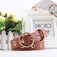 Wholesale Eyelet Bronze - The new personalized round buckle wide belt belt all-match female hollow eyelet lady fashion waistband eyelet female wholesale