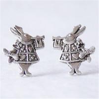 Wholesale bunny plates - 10pairs lot White Rabbit Earrings Silver Alice in Wonderland Earings Bunny Earrings