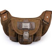 Wholesale Phone Toolkit - 2017 Ruil Retro Canvas waist bag men fashion multi-functional pockets Leisure Picnic Phone bag Toolkit Vintage Package