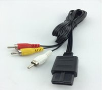 Wholesale Nintendo N64 - Free Shipping 180cm AV TV RCA Video Cord Cable For Game cube for SNES GameCube for Nintendo for N64 64 Wholesale Store 400pcs