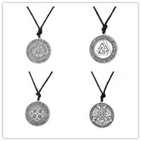Wholesale Ethnic Pendant Necklace - Warrior Scandinavian Amulet Collares Vegvisir Valknut Odin's Symbol of Norse Cross Runes Jewelry Ethnic Viking Men Necklace