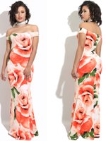 ingrosso abiti sirena stati uniti-L'Europa e gli Stati Uniti vestito da stampa del fiore delle rose delle donne senza spalline fuori dal vestito dalla spalla vestito dalla coda di pesce sirena che adatta jupe