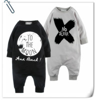 Wholesale 18 Month Boy Clothes Fall - 2016 Newborns Fall Rompers Baby Boy Cilmb Clothes Onesies Children Cotton NO Sleep Letter Printed Jumpsuits 4 pcs lot